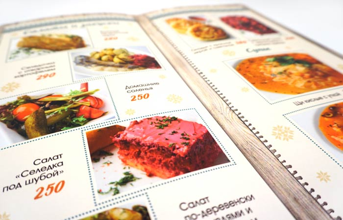 Дизайн и печать буклетов меню для ресторанов