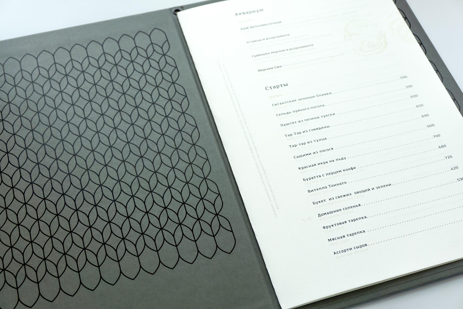 Папки меню для ресторана